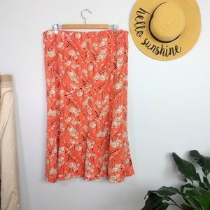 Vintage 90s Floral Abstract Maxi Skirt Size 20